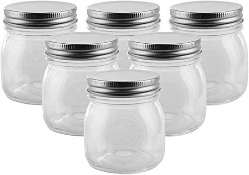 Golden Spoon Mason Jars, With Regular Lids, and Lids for Drinking, Dishwasher Safe, BPA Free, (Set of 6) (10 oz)