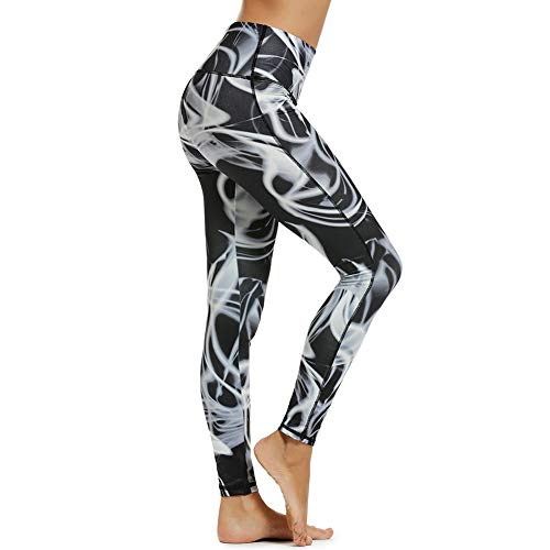 Women's Tummy Control Printed Yoga Pants High Waist with Pockets Naked Feeling Workout Leggings Black-M