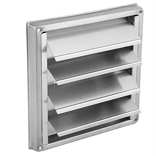 FTVOGUE - Parrilla de ventilación de Aire Cuadrada de 100 mm de Acero Inoxidable para Pared, Secadora, Extractor de Ventilador de Salida