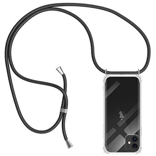 MICASE Funda con Cuerda para iPhone 11, Carcasa Transparente TPU Suave Silicona Case con Correa Colgante Ajustable Collar Correa de Cuello Cadena Cordón para iPhone 11 6.1