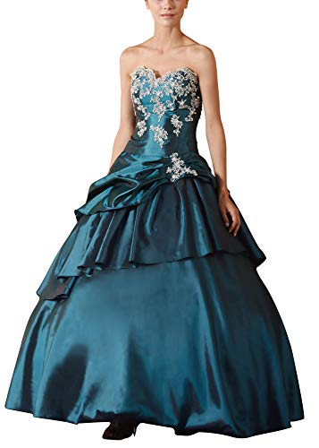 Romantic-Fashion Damen Ballkleid Abendkleid Lang Brautkleid Modell E615-E619 A-Linie TAFT Perlen...
