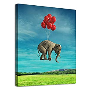 """Elephant Canvas Wall Art Modern Fantastic Animal Picture African Elephant with Balloon Canvas Artwork Contemporary Wall Art for Home Decor Bedroom Living Room Decoration Framed Ready to Hang 12"""" x 16"""""""