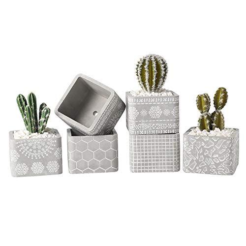 T4U 10 cm cement vetplantenpotjes met onderzetter rechthoekig, beton mini-bloempot met patroon voor cactus miniatuurplanten