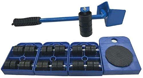 genneric 360 ° Heavy Duty Möbelverstellsysteme Walzen, 1 Hubstange und 4 Möbelverstellsysteme Walzen, Perfekt for Zeichnet/Garderobe/Waschmaschine/Trockner/Sofa (Color : Blue)