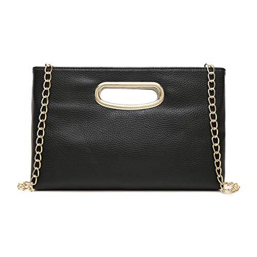 CrossLandy Small Fashion Clutch Purse for Women Evening Wedding Party Tote Handbag with Crossbody Chain Strap(Black)