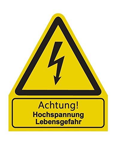 "Aufkleber\""Achtung Hochspannung Lebensgefahr\"" Warnung Warnschild ISO 7010 | 210x245mm signalgelb made by MBS-SIGNS in Germany"