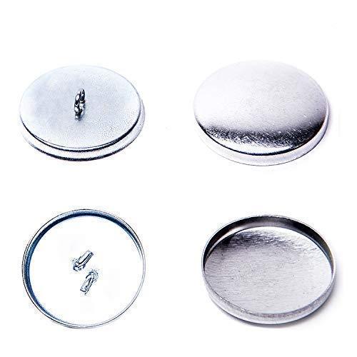 GETMORE Parts Knöpfe zum Beziehen mit Stoff - Knopfrohlinge zur Herstellung von Knöpfen, zweiteilig - Unterteil Stahl, Silber vernickelt - ab 100 Stück (24er / 15 mm)