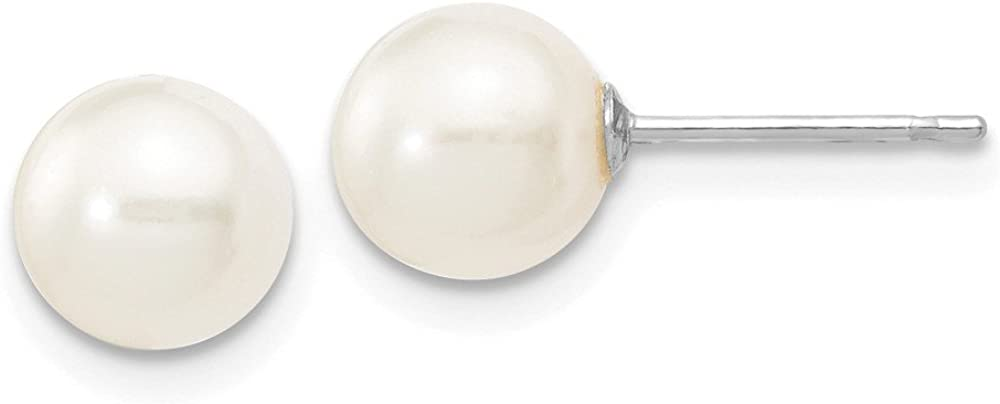 14k White Gold White Round Cultured Pearl Stud Earrings (L-6 mm, W-7 mm)