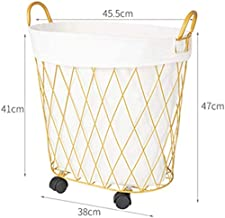 Dirty household laundry basket with wheels Wäschebox bathroom dirty clothes storage basket toy bucket, iron,Gold