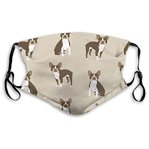Mouth Scarf Unisex Cushion Cover Brown Boston Terrier Dog Christmas M Nose Clip Kermit for Teens Men Women
