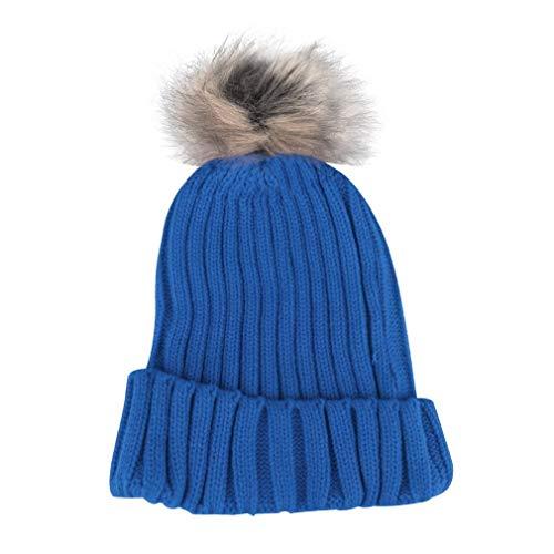100% gloednieuwe winter vrouwen snoep mutsen gebreide mutsen haak hoeden kunstmatige bont pompons curling oor beschermen casual mutsenblauw