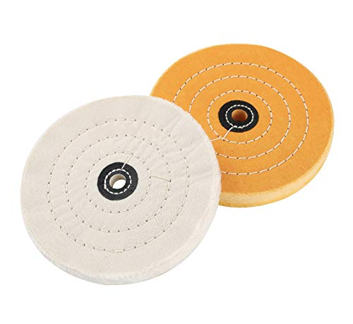 Amacupid Buffing Polishing Wheel 6 inch,For Bench Grinder/Benchtop Buffer Polisher,1/2 inch Arbor Hole,Cotton White (50 layers) Yellow (45 layers)-2 Pack