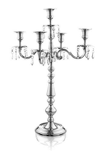 Klikel Traditional 24 Inch Silver 5 Candle Candelabra With Crystal Drops - Classic Elegant Design - Wedding, Dinner Party And Formal Event Centerpiece - Nickel Plated Aluminum, Dangling Acrylic Crysta