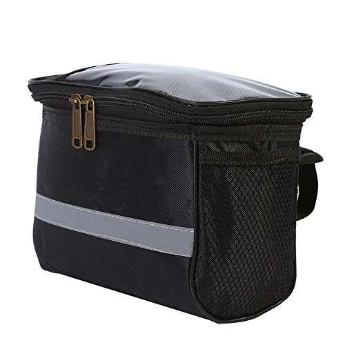 Covcow Bicycle Handlebar Bag Bike Cycling Bag Bicycle Front Pocket Basket Reflective Tape Touch Transparent Mobile Phone Bag for Hold Gloves Tools Lunch Boxes