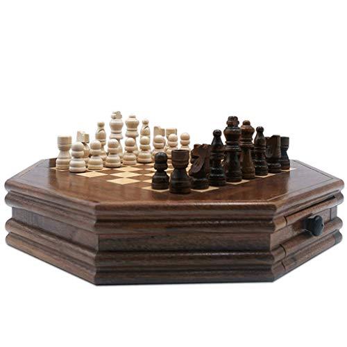 WUHE Octogonales magnéticos Regalos de Juego de ajedrez y Juguetes educativos for los Adultos Adolescentes niños, de Madera Maciza de ajedrez Pedazos y Caja de Almacenamiento 12.8'
