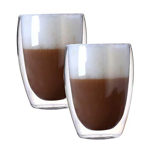 Kaffee Teegläser, doppelwandiges Thermoglas Cappuccino Tassen 250ml/350ml/400ml, 2er Set (350ml(2-teiliges))