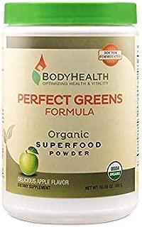 BodyHealth Perfect Greens Formula (30 Svgs) 100% Organic Superfood, 23 Whole Foods (Wheat Grass, Spirulina, etc) Antioxidant, Probiotic, Detox, Gluten Free, Energy Juice Supplement, Apple Flavor