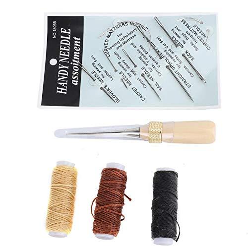 Herramientas de coser a mano de cuero, punzón de perforación y kit de hilo de dedal con agujas de coser a mano para manualidades en cuero