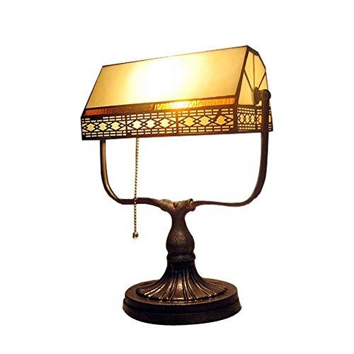 Lfixhssf Retro Bankieri lamp, antieke stijl bureau met lichtgeel glas met achterkant van messing voor nachtkastje Lfixhssf (kleur: Switch Button)