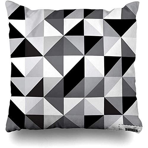 WHEYT Dekokissenbezug 40 x 40 cm Schwarz-weißes Dreieck-Monochrom-Schnittmuster-Beschaffenheits-Oberfläche Moderne graue abstrakte Nahtlose Beschaffenheiten