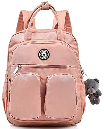 Scioltoo Girls Laptop Backpack Sling Backpack Purse for Women Teen School Bookbag Cute Lightweight Mini Backpack Computer Bag with Lots of Pockets Pink A-Pink