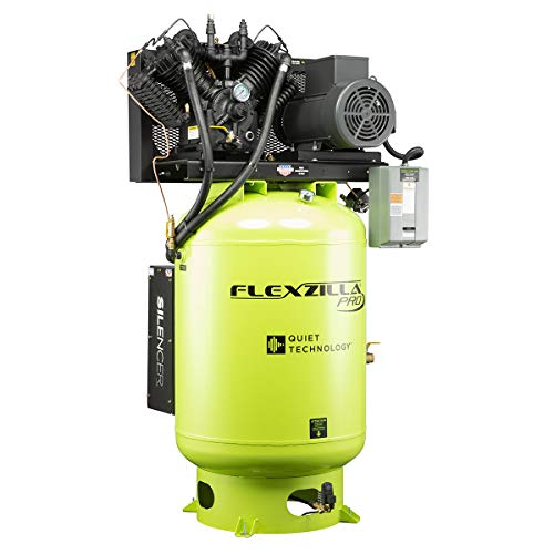 Flexzilla Pro Air Compressor with Silencer, Stationary, 10 HP, 120 Gallon, 1-Phase, 2-Stage, Vertical - FXS10V120V1