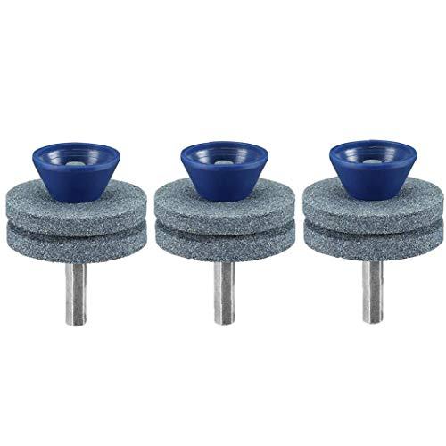 Hotaden Double-Layer-Schleifstein Rasen Sharpener Universal-Multi-Sharp Rotary Rasenmäher Blatt für irgendeine Macht Handbohrmaschine Blau 3Pcs