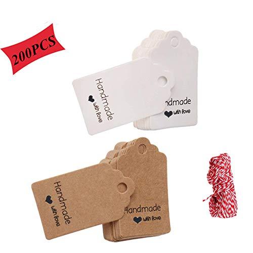 Etiquetas Papel Kraft Tarjetas Decorativas, Etiquetas Regalo, Etiquetas de Boda, Handmade with Love Etiqueta, Se Utiliza para Bodas, Cumpleaños y Navidad