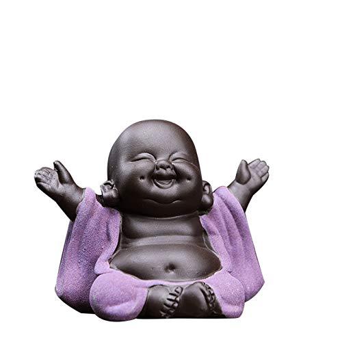 Figura de cerámica pequeña linda del Buda del bebé de la estatua del monje Figuritas de Buda de la decoración del hogar Adornos Manualidades Manualidades Regalos para el hogar
