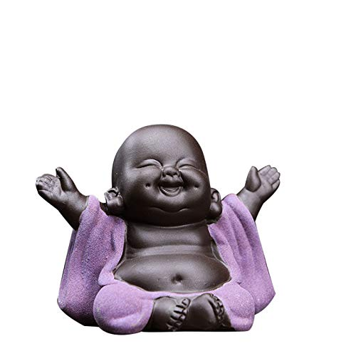 Kingzhuo Ceramic Little Cute Baby Buddha Statue Monk Figurine Buddha Figurines Home Decor Creative Baby Crafts Dolls Ornaments Gift Delicate Ceramic Arts and Crafts (Purple)