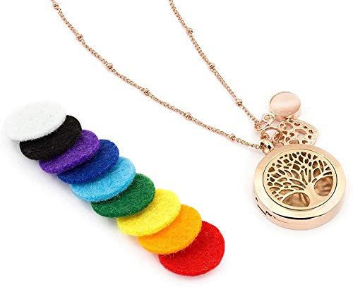 WLABCD Tree Of Life Essential Oil Hypoallergenic Surgical 316L Stainless Steel Diffuser Necklace 52.1Cm Chain + 9 Washable Inserts + Pendant,Rose Gold
