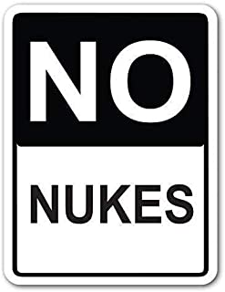 Collectible Wall Art,12x16in,No Nukes Street Sign Metal Vintage Tin Wall Sign Retro Art Iron Painting Metal Warning Plaque Decor for Cafe Bar Supermarket Cafeteria Home