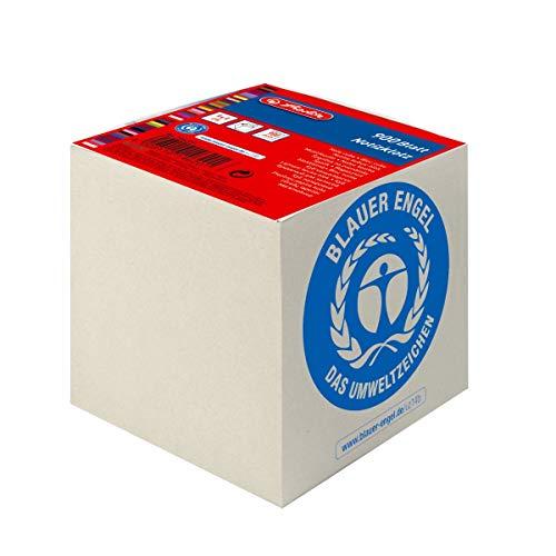 Herlitz Notizklotz Geleimt UWS-Papier, blauer Engel, 10 Stück in Folienpackung, 900 Blatt, 9 x 9 x 9 cm, grau