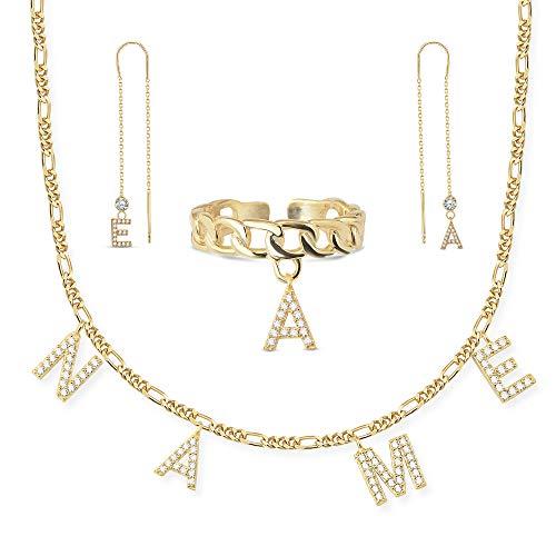 Namenskette I Kette mit Namen I Damen Halskette 925er Silber vergoldet I Erstellen Sie Ihr eigenes Set I Hochwertiger personalisierter Schmuck im zeitlosen schlichtem Design I (Buchstaben Halskette)