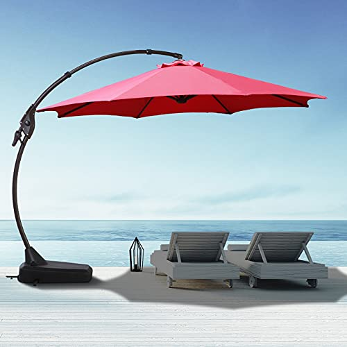 12 FT Cantilever Patio Umbrella Goognice Large Outdoor Heavy Duty Offset Hanging Umbrella with Base Aluminum Alloy Pole for Swimming Pool, Garden, Porch, Deck, Lawn, Backyard and Restaurant