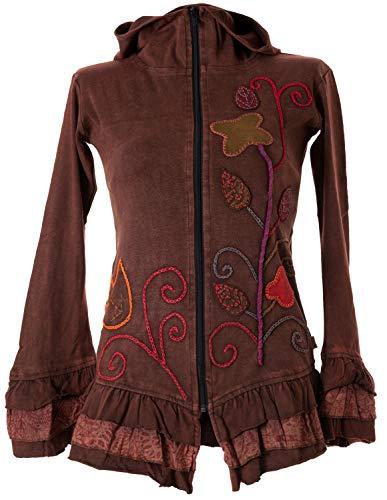 Vishes - Alternative Bekleidung - Handbestickte Blumen Sommerjacke aus Baumwolle mit Zipfelkapuze und Rüschen braun 42
