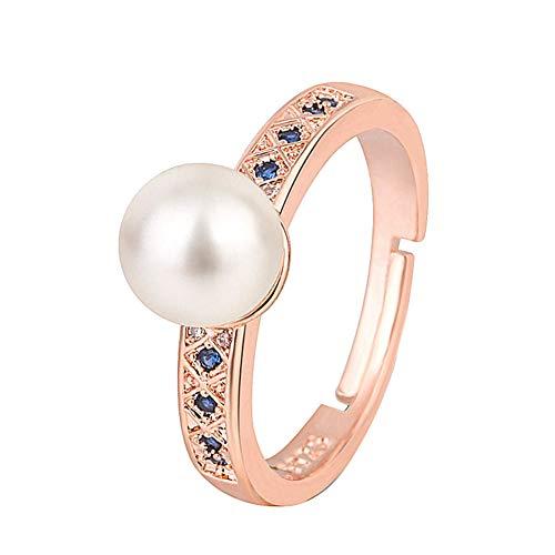 Yosemite - Pulsera para Mujer, diseño de Luna y Diamantes de imitación, Regalo, Aleación, Perlas de imitación, Diamantes de imitación, Oro Rosa, Ring**