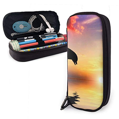 NiYoung Unisex Big Capacity Pencil Case Holder Pen Organizer Pouch Stationery Box Large Storage College Middle School & Office Supplies Stationery - Dolphins Jump Ocean Sunset Marine Animals
