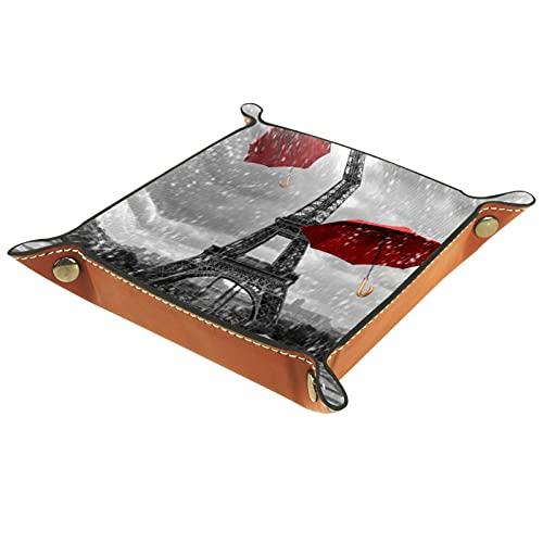 Piccola scatola portaoggetti, svuotatasche da uomo,Torre Eiffel Fantasy Eiffel Rainy Windy Ombrello volante ,Organizer in pelle catchall per portamonete portachiavi