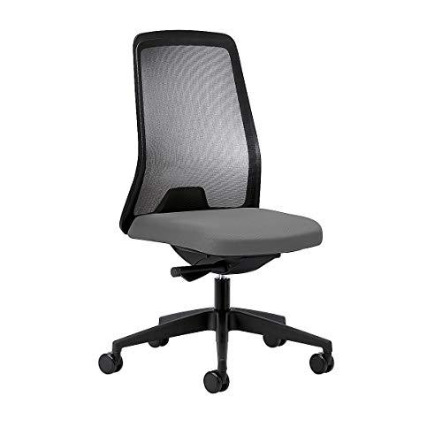 interstuhl Operator-Drehstuhl EVERY, Netz-Rückenlehne schwarz Gestell schwarz, mit harten Rollen eisengrau, Sitztiefe 430 mm