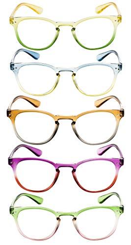 Ladies Reading Glasses 5 Pairs Colorful Readers Women Reading Eyeglasses (5 Pairs Mix,+2.00)