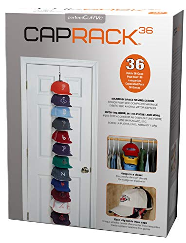 Perfect Curve Cap Rack System 36 – Baseball Cap Organizer (12 clips hold up to 36 caps,Black)