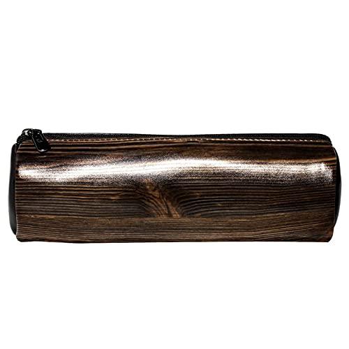Estuche para lápices de piel de madera marrón vintage vintage de estilo vintage, para estudiantes, papelería, escuela, trabajo, oficina, almacenamiento