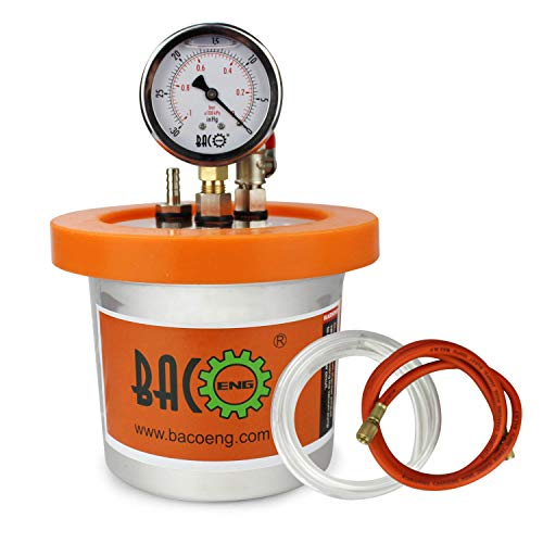 BACOENG 1.2 QT Stainless Steel Resin Trap Vacuum Degassing Chamber (3 Gallon/1.2 QT/2 QT Available) …