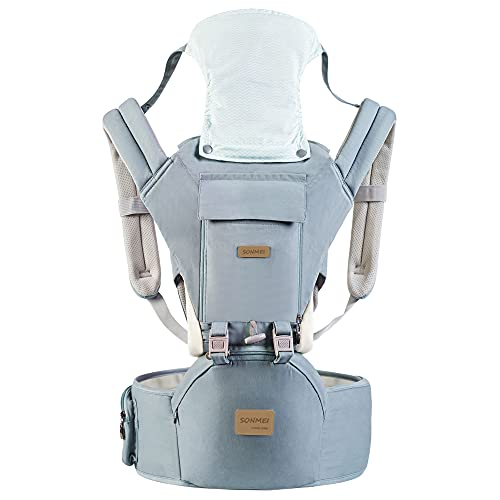 3 in 1 Ergonomic 360° Soft Baby Carrier, Baby Sling Comfortable Adjustable Positions, Fits All Newborn Toddler,HipSeat Infant Carrier, All Seasons,Perfect for Hiking Shopping Travelling (Light Blue)