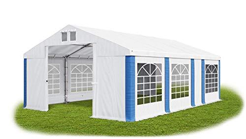 Das Company Partyzelt 4x7m wasserdicht weiß-blau Zelt Dachplane modular 580g/m² PVC ganzjährig Gartenzelt Winter MS/SD