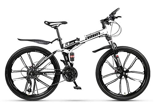 KAUTO Adult Mountain Bike, Folding Mountain Trail Bike High Carbon Steel Outroad Bicycles, 26'' 21/24/27/30Speed Bicycle Full Suspension MTB Gears Dual Disc Brakes Mountain Bicycle B 24 Speed