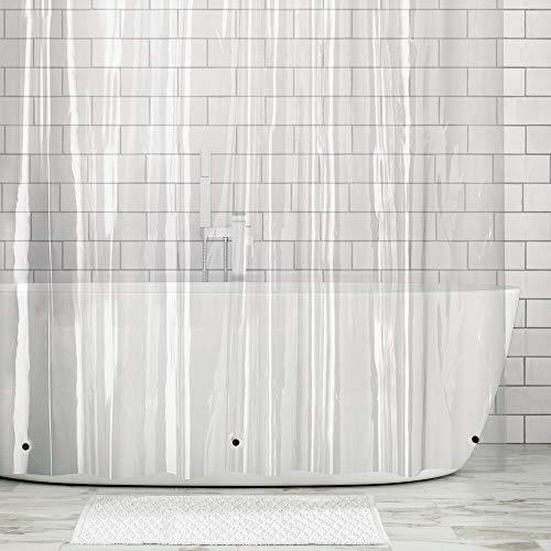 mDesign Duschvorhang - extra Langer Dusch- & Badewannenvorhang - Duschvorhang wasserabweisend - rostfreie Ösen für einfache Aufhängung - durchsichtig