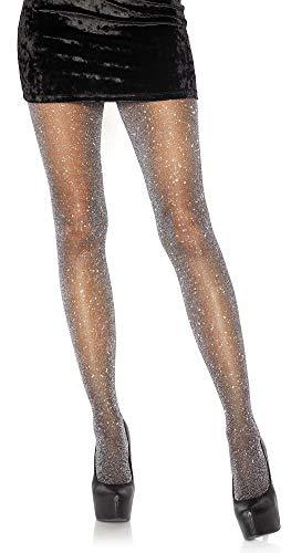 Leg Avenue Damen Strumpfhose mit Glitzer Effekten schwarz silber Einheitsgröße ca. 36 bis 40