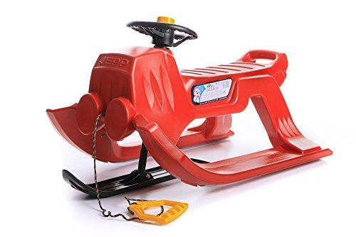 Unbekannt Schlitten Kinderschlitten Rodel aus Kunststoff mit Zugseil und Lenkung Jepp Control 4 Farben (Rot)